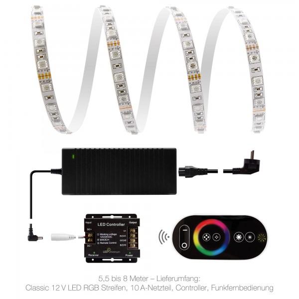 Classic 12V RGB LED Streifen Set  - 5,5 bis 8 Meter