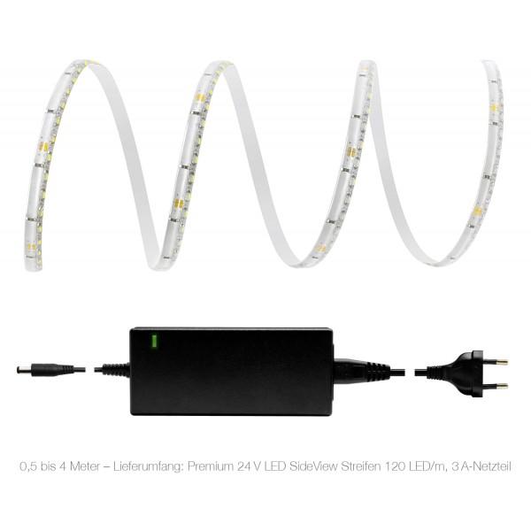 Premium 24V LED SideView Streifen Set 120 LED/m - kaltwei?? - Lieferumfang 0,5 bis 4 Meter: 3A-Netzteil