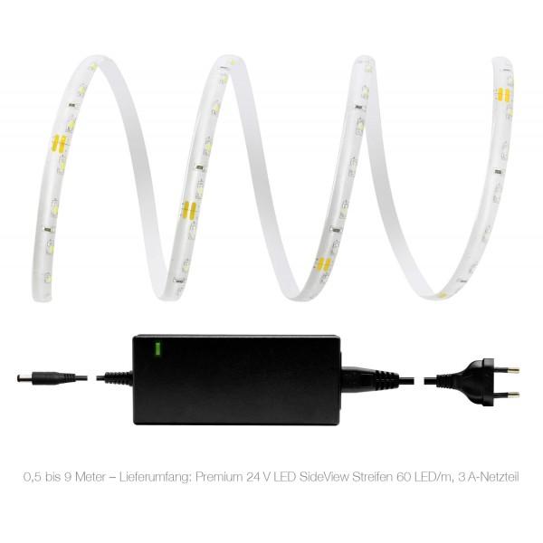 Premium 24V LED SideView Streifen Set 60 LED/m - warmwei?? - Lieferumfang 0,5 bis 9 Meter: 3A-Netzteil