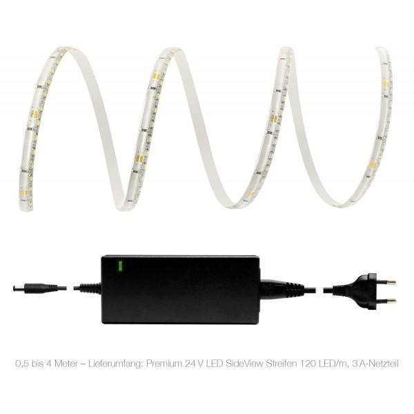 Premium 24V LED SideView Streifen Set 120 LED/m - warmweiß - Lieferumfang 0,5 bis 4 Meter: 3A-Netzteil