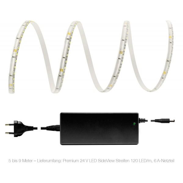 Premium 24V LED SideView Streifen Set 120 LED/m - warmweiß - Lieferumfang 5 bis 9 Meter: 6A-Netzteil