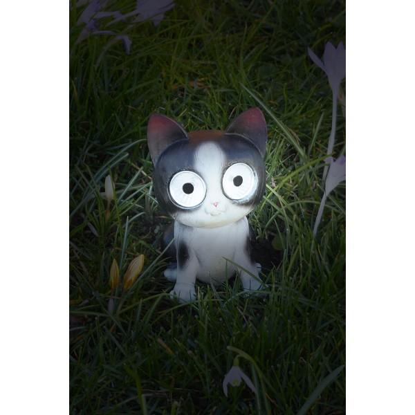 """Gartendeko LED Solarfigur """"Schwarze Katze"""" leuchtend"""