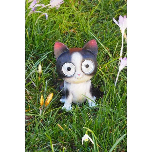 """Gartendeko LED Solarfigur """"Schwarze Katze"""" im Gras"""