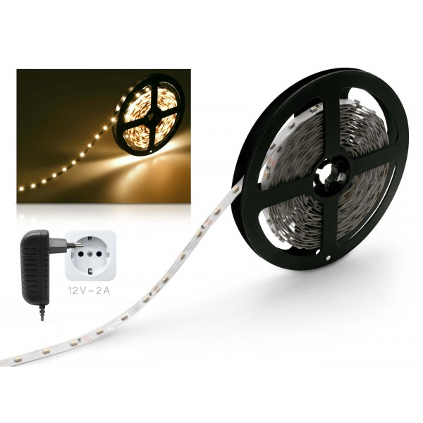 Classic 12V SELV LED Streifen 2m Set warmweiß 60 LED/m 24W Netzteil  IP 20