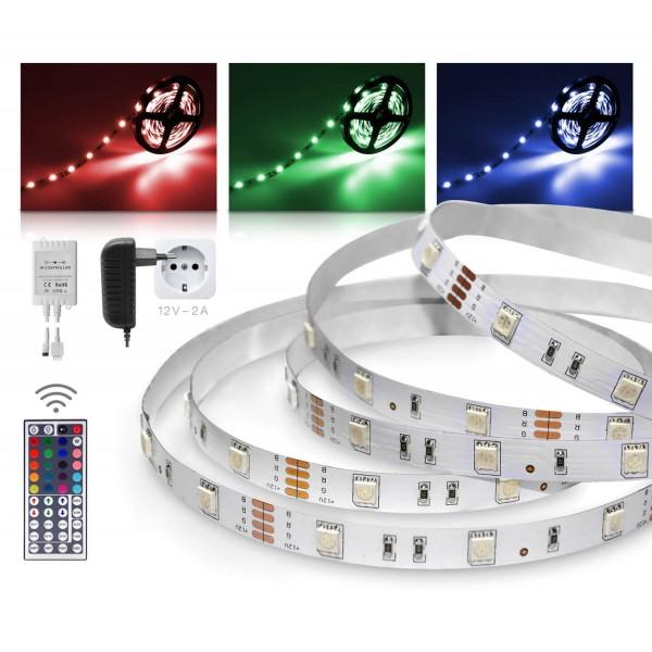 Classic 12V SELV RGB LED Streifen 2m Set 30 LED/m 44 Tasten Infrarot-Fernbedienung IR Controller 24W Netzteil  IP 20