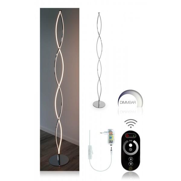 Elegante LED Stehleuchte Halma - Setbild mit Funkfernbedienung