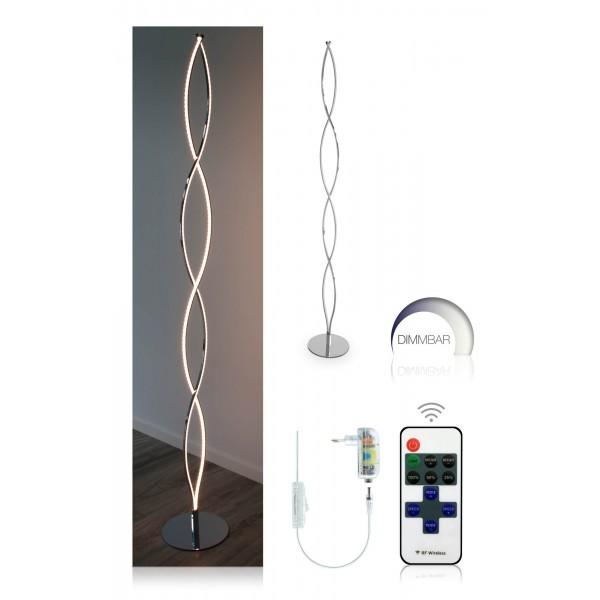 Elegante LED Stehleuchte Halma - Setbild mit Infrarot-Dimmer
