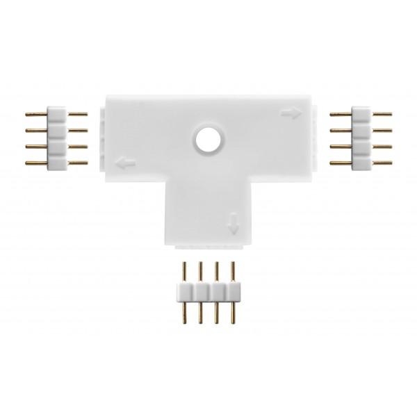 4-poliger T-Verbinder f??r RGB Streifen - Lieferumfang inkl. 3 Steckverbinder