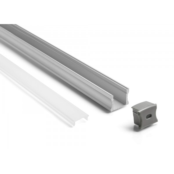 Aluminium U Profil - Set mit Blende und Endkappe