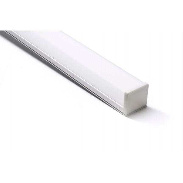 U-Profil | 26 x 10mm | Eloxiertes Aluminium | Matte Blende | Endkappe | Montageklammern - 1 Meter Länge