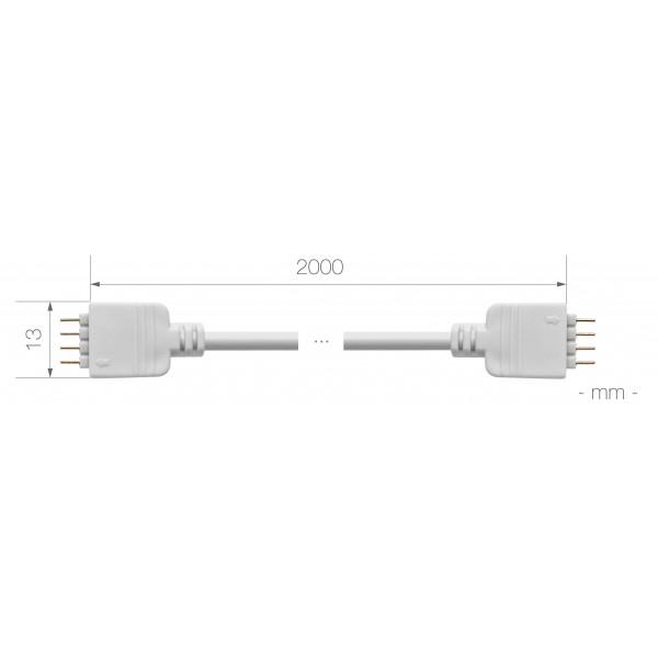 Verlängerungskabel für RGB LED Streifen - 2m - Bemaßung