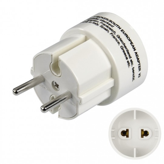 Hama Reiseadapter mit Stecker Typ E/L (Südeuropa) zum Anschluss von Geräten mit Euro-Flachstecker / Konturen-Stecker (zwei-polige Stecker)
