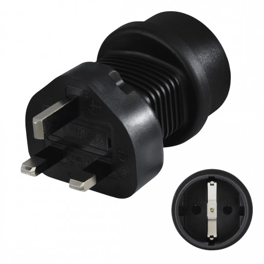 Hama Reiseadapter mit Stecker Typ G (UK) zum Anschluss von Geräten mit deutschem Schutzkontakt-Stecker sowie Euro-Flachstecker / Konturen-Stecker