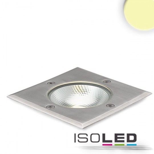 LED Bodeneinbaustrahler, quadr. Edelstahl, IP67, 7W COB, 90°, warmweiß