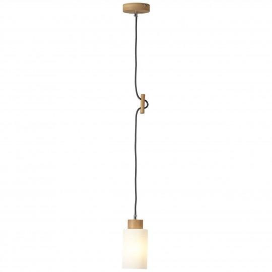 Brilliant 23070/35 Nature Pendelleuchte, 1-flammig Holz/Glas Leuchte