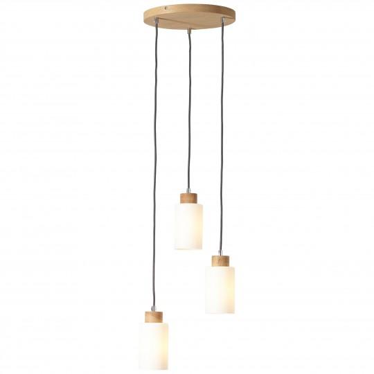 Brilliant 23073/35 Nature Pendelleuchte, 3-flammig Holz/Glas Leuchte