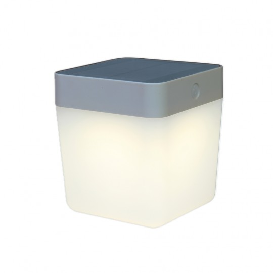 ECO-LIGHT P9080 SI Table-Cube inkl. Solarpanel silber