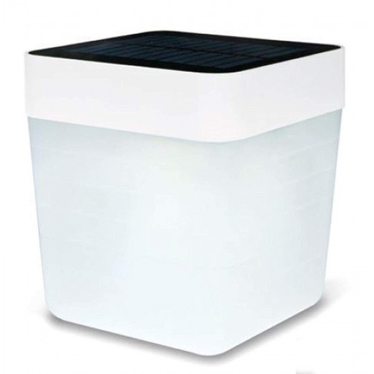 ECO-LIGHT P9080 WH Table-Cube inkl. Solarpanel weiß