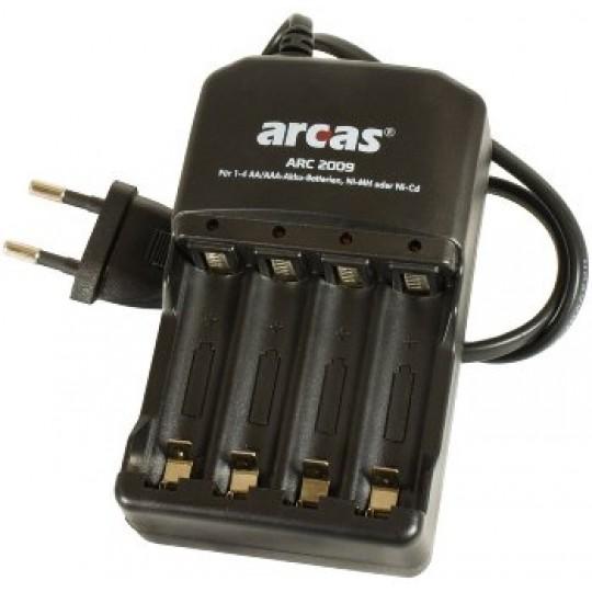 """ChiliTec 17755 Akku-Ladegerät ARCAS """"ARC-2009"""", 100-240V, für 1-4x Micro AAA/Mignon AA"""
