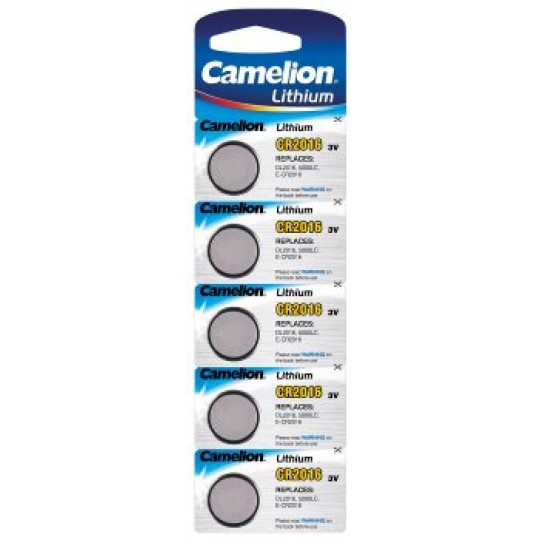 ChiliTec 17784 Lithium Knopfzelle CAMELION CR2016, 3V, 12x1,5mm, 5er-Blister