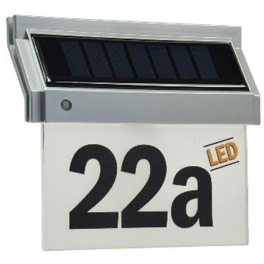 ChiliTec 18095 Solar Hausnummernleuchte mit LED, 18x16x5cm, incl. Zahlen-/Buchstabensatz