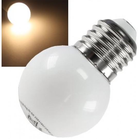 ChiliTec 20404 LED Tropfenlampe E27, 40mm Ø, warmweiß, 9 SMD LEDs, 3000k, 30lm, 120°, 230V/0,4W