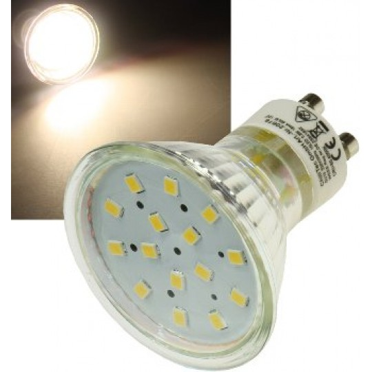 "ChiliTec 20677 LED Strahler GU10 ""H10 SMD"" 15 SMD LEDs, 3000k, 50lm, 120°, 230V/0,8W, warmweiß"