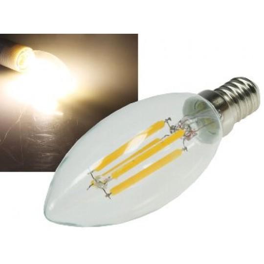 """ChiliTec 21387 LED Kerzenlampe E14 """"Filament K4"""", 3000k, 360lm, 230V/4W, warmweiß"""