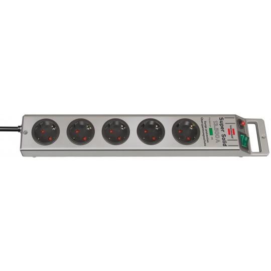 Brennenstuhl Super-Solid 13.500A ??berspannungsschutz-Steckdosenleiste 5-fach silber 2,5m H05VV-F 3G1,5