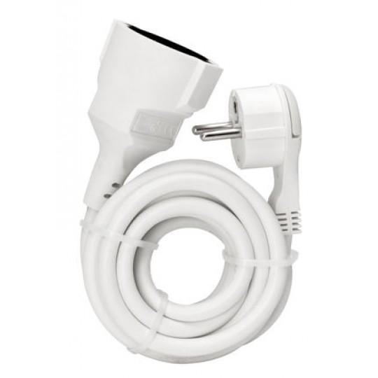 Kopp Verlängerung: Schutzkontakt-Winkelstecker und Schutzkontakt-Kupplung mit 2m Kabel, weiß