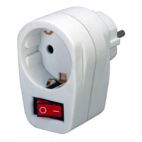 Brennenstuhl Adapterstecker Schutzkontakt mit Schalter weiß