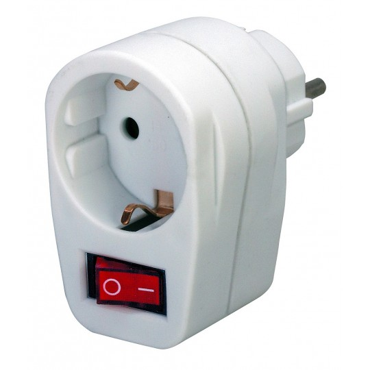 Brennenstuhl Adapterstecker Schutzkontakt mit Schalter wei&szlig