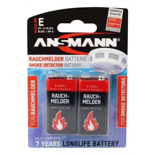 ANSMANN Alkaline longlife Rauchmelder Batterien Block E / 6LR61 im 2er Blister
