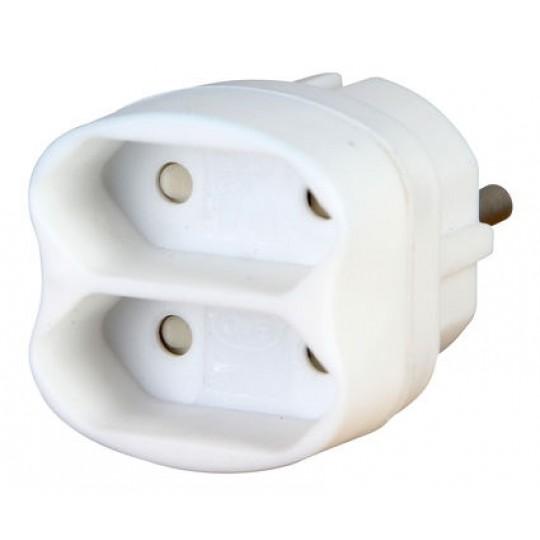 Kopp 2-fach Adapter: Anschluss für 2 Euro-Stecker mit Kinderschutz, 2,5 A, 250 V AC, weiß