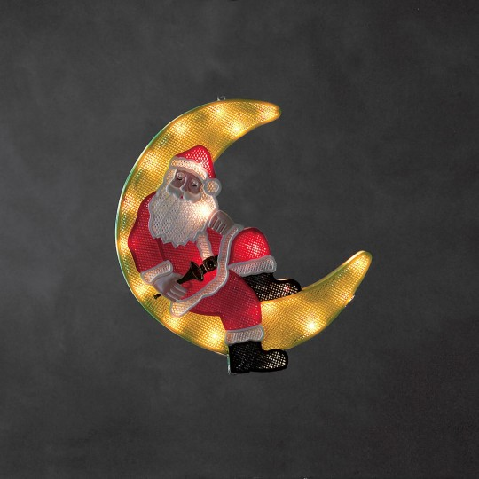 Konstsmide 2860-010 LED Fensterbild Weihnachtsmann im Mond