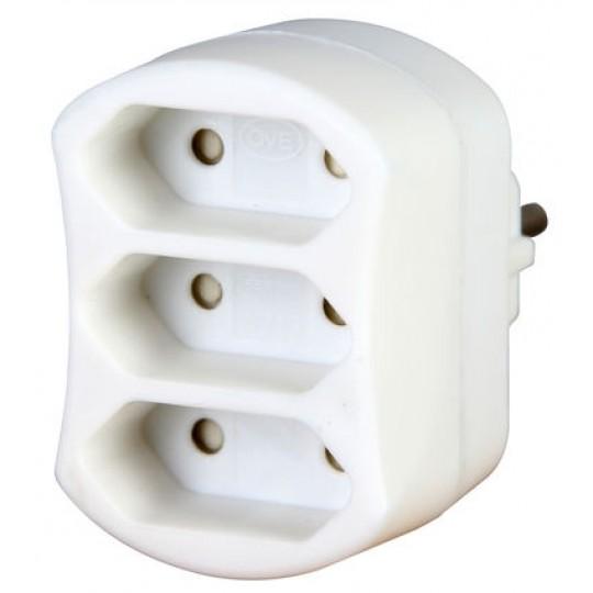 Kopp 3-fach Adapter: Anschluss für 3 Euro-Stecker mit Kinderschutz, 2,5 A, 250 V AC, weiß