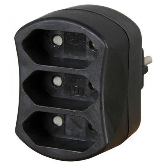 Kopp 3-fach Adapter: Anschluss für 3 Euro-Stecker mit Kinderschutz, 2,5 A, 250 V AC, schwarz