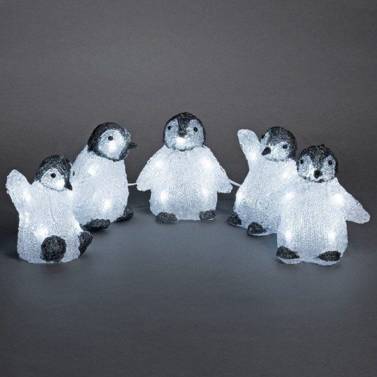 Konstsmide 6266-203 LED Acrylfiguren Pinguine 5er Set