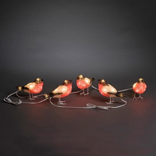 Konstsmide 6269-203 LED Acrylfigur Rotkehlchen 5er Set