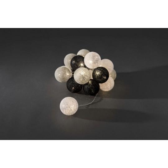 Konstsmide 3136-573 Dekolichterkette schwarz weiß grau, Ø 6 cm weihnachtsdeko