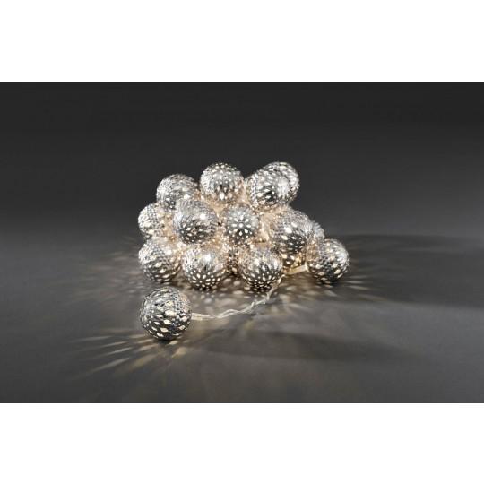 Konstsmide 3156-303 LED Dekolichterkette 24 silberne Metallkugeln warmweiss weihnachtsdeko