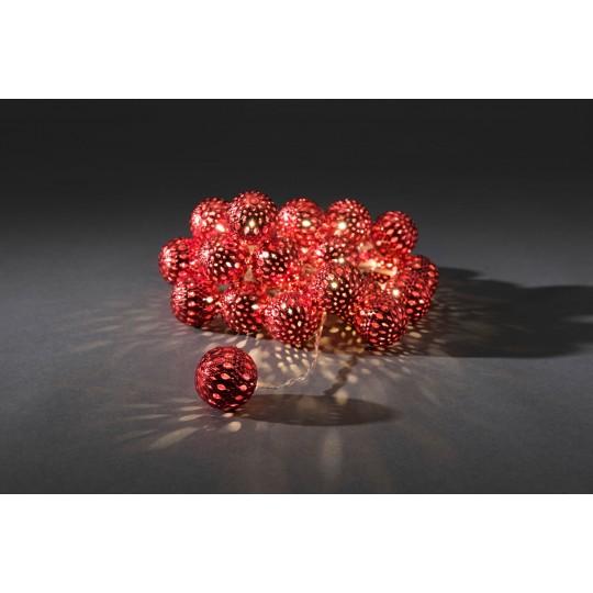 Konstsmide 3156-553 LED Dekolichterkette 24 rote Metallkugeln warmweiss weihnachtsdeko