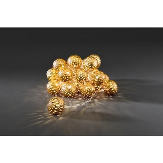 Konstsmide 3156-803 LED Dekolichterkette 24 goldene Metallkugeln warmweiss weihnachtsdeko