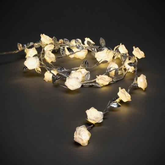 Konstsmide 3212-303 LED Lichterkette weiße Rosen 6h Timer