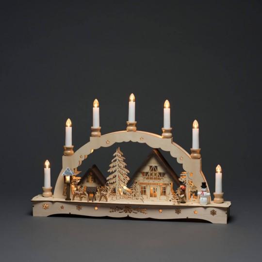 Konstsmide 3254-100 LED Holz Schwibbogen, 7 Kerzen, 21 ww LEDs