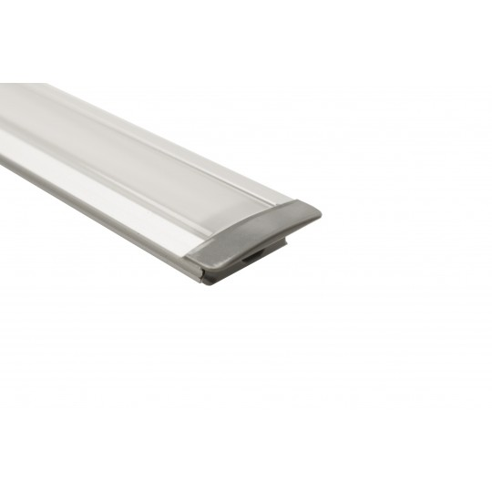 U-Fl??gelprofil | 17,5 x 7mm | Eloxiertes Aluminum | Mattwei??e Blende - 1 Meter L??nge komplett