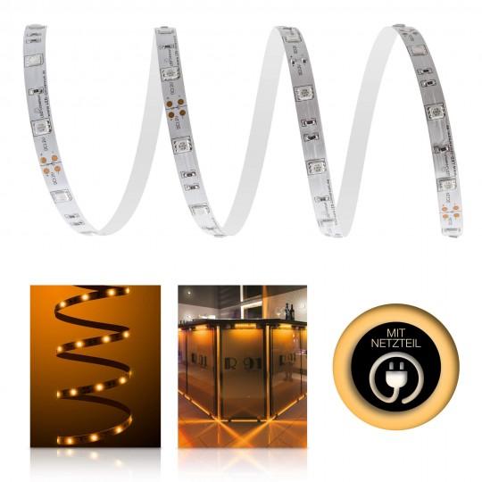 Classic 12V LED Streifen Set bernstein 30 LED/m - mit Netzteil