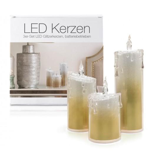 """LED Glitzer Acryl-Kerzen 3er Set """"Liza"""" Gold"""