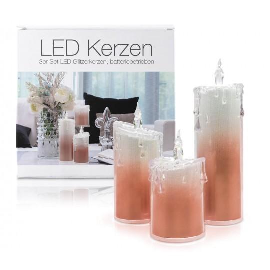 """LED Glitzer Acryl-Kerzen 3er Set """"Liza"""" Rot"""