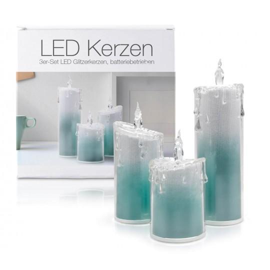 """LED Glitzer Acryl-Kerzen 3er Set """"Liza"""" T??rkis"""